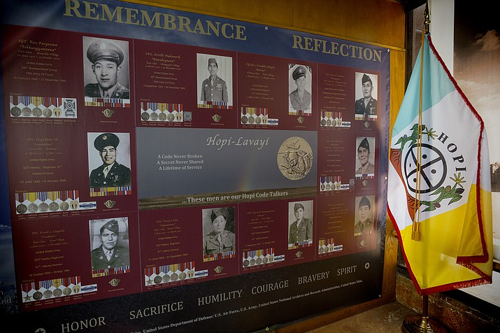 During the 60th anniversary of Arizona State Parks, the Hopi Code Talkers were honored at Homolovi State Park. A display at Homolovi honors the Hopi Code Talkers. Photo/Todd Roth