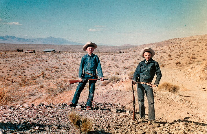 "Bob Bell, left, and Dan Harshberger went out on a Sunday adventure in the foothills above While Hills Ghost Town in the 1950s. This photo is in their book, ""The 66 Kid."""
