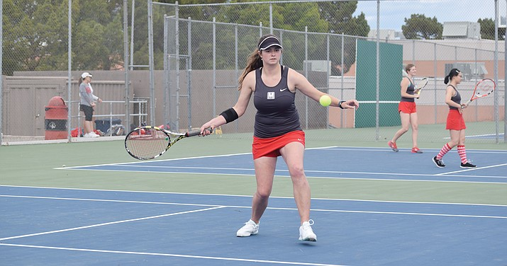 Mingus Union junior Talon Whiteley won the No. 1 singles match against Flagstaff 4-6, 6-4, 10-4. The win came after Mingus coaches chose to instruct her less during the match. (VVN/James Kelley)