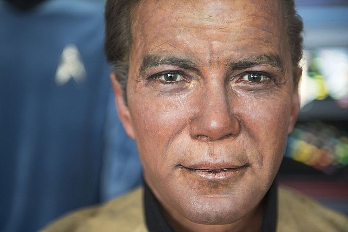 A close up of Captain Kirk's wax likeness from the now out of business Movieland Wax Museum in Buena Park in a hangar at Fullerton Airport in Fullerton, Calif. Steven Greenthal and Chris Liebl are donating the figures to the Hollywood Science Fiction Museum. The figures are being restored for a five-year tour to raise money to get the museum a permanent home.