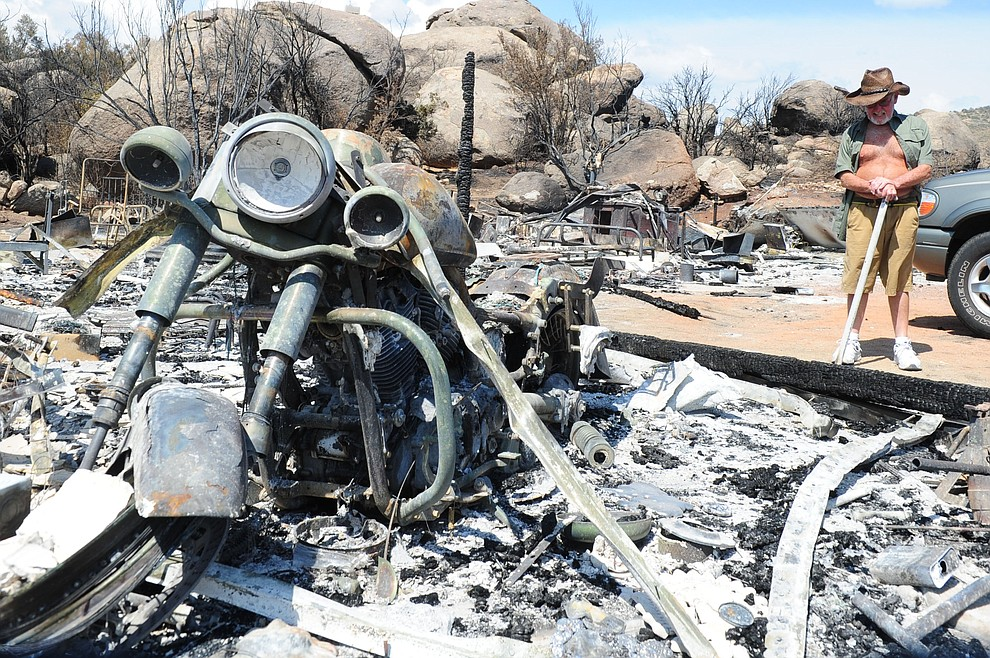 Yarnell - July 10, 2013.Les Stukenberg/The Daily Courier.Bob Kramer talks about what he's going through after the Yarnell Hill fire burned his home and all his possessions..