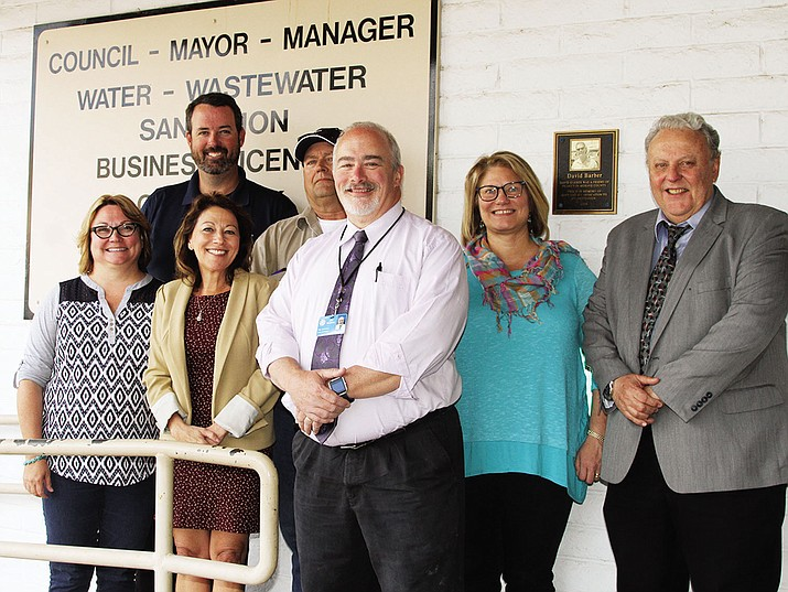 Community leaders who were instrumental in raising more than $18,000. Back row from left to right are Dan Del Monaco, Richard Hamilton, Lynne Peterson and Gary Grynkewich. Front row, left to right are Deana Nelson, Mayor Monica Gates and City Manager John Dougherty.