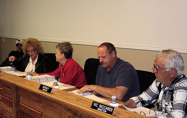 The five members of the NACFD board at its meeting March 22 from left to right are Mike Collins, Sue Wilkin, Patti Lewis, Jim Baily, and Vic Riccardi. Lewis and Riccardi are the targets of a recall effort.
