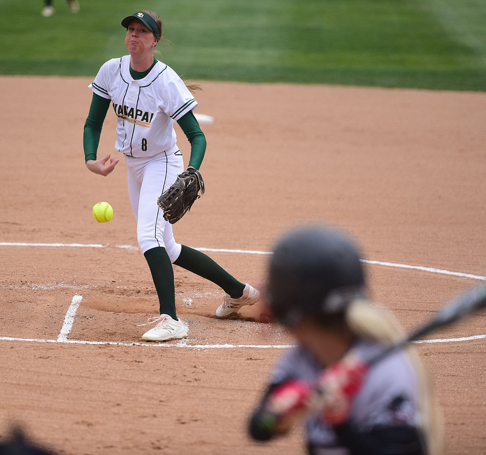 Yavapai College's Amy Robinson delivers a pitch as the Lady Roughrider take on the Glendale Community College Lady Gauchos in the first game of doubleheader Friday, March 31 in Prescott. (Les Stukenberg/The Daily Courier)