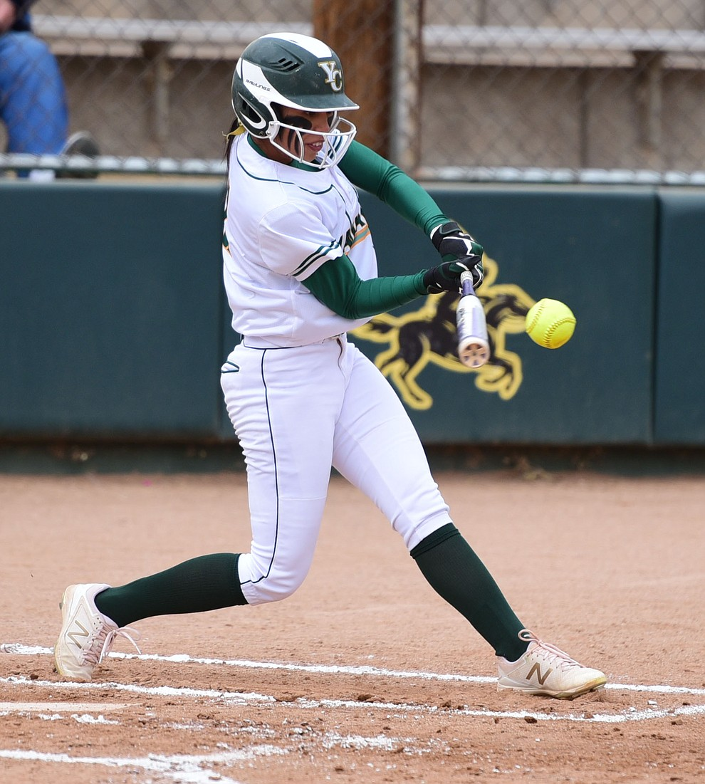 Yavapai College's Mahina Chong makes contact as the Lady Roughrider take on the Glendale Community College Lady Gauchos in the first game of doubleheader Friday, March 31 in Prescott. (Les Stukenberg/The Daily Courier)