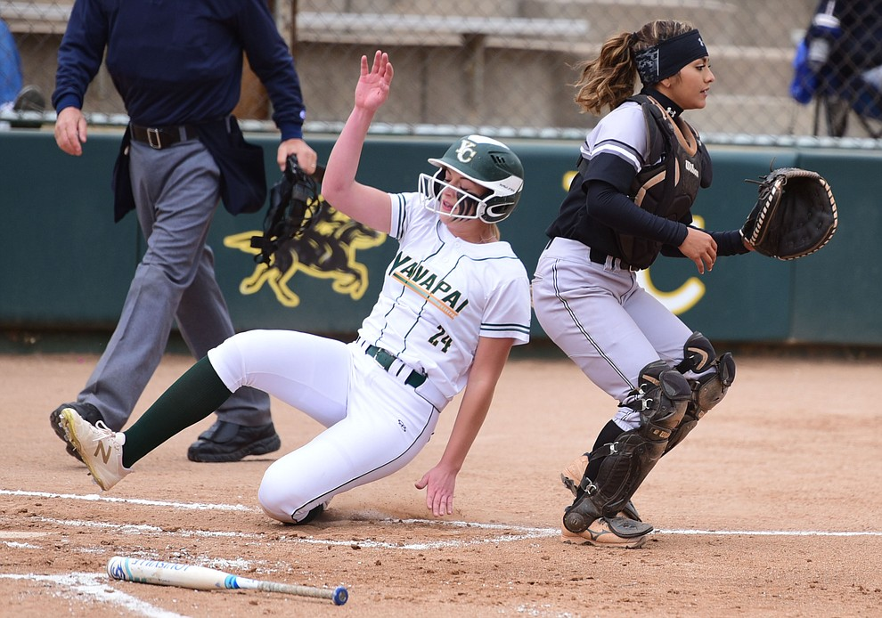 Yavapai College's Mikayla Newham scores from second base as the Lady Roughrider take on the Glendale Community College Lady Gauchos in the first game of doubleheader Friday, March 31 in Prescott. (Les Stukenberg/The Daily Courier)