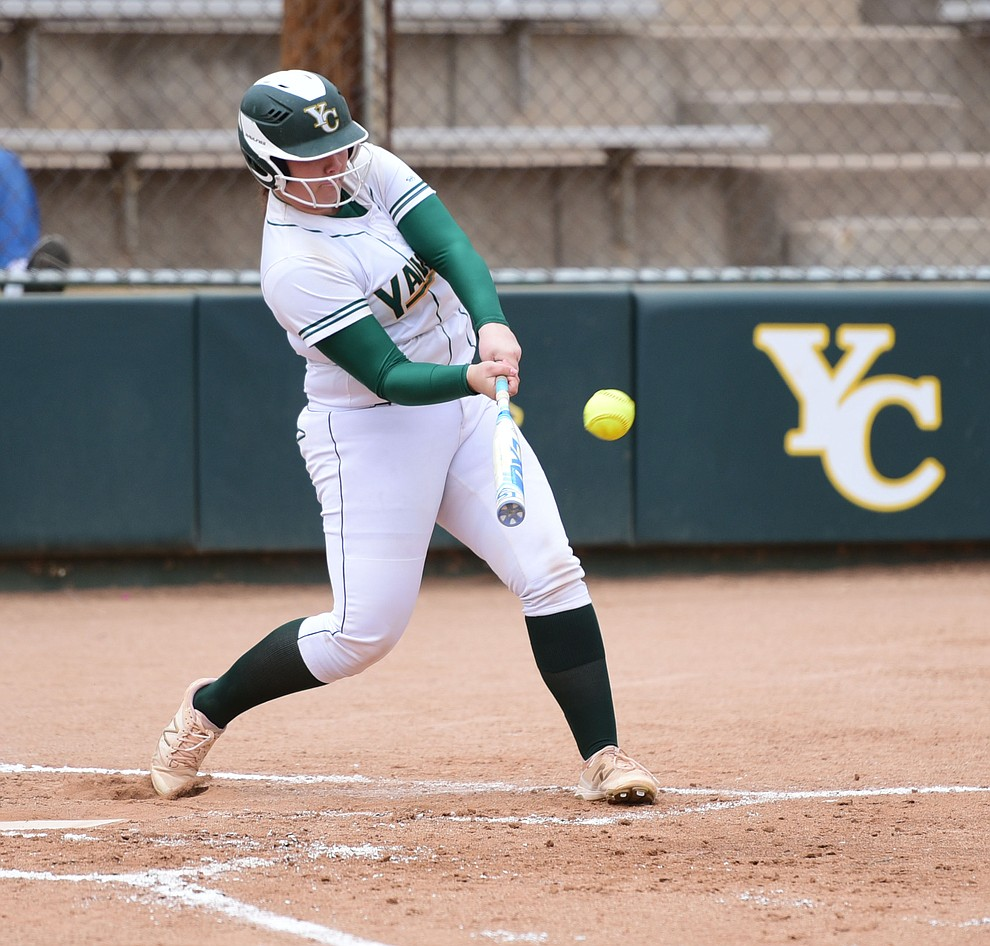 Yavapai College's Jaydee Boursaw stroke a home run as the Lady Roughrider take on the Glendale Community College Lady Gauchos in the first game of doubleheader Friday, March 31 in Prescott. (Les Stukenberg/The Daily Courier)