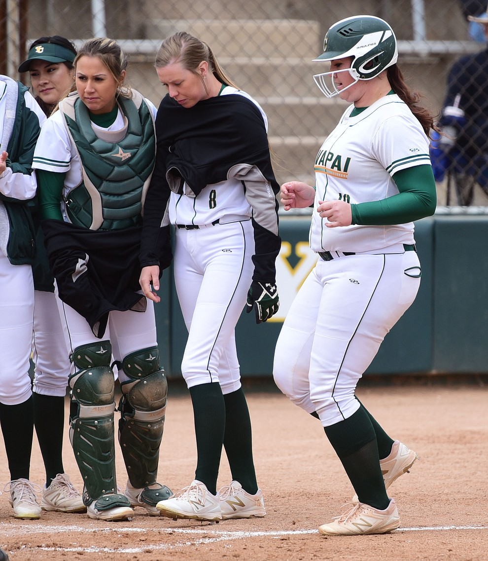 Yavapai College's Jaydee Boursaw trots home after stroking a home run as the Lady Roughrider take on the Glendale Community College Lady Gauchos in the first game of doubleheader Friday, March 31 in Prescott. (Les Stukenberg/The Daily Courier)