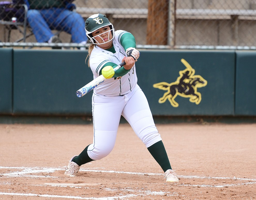 Yavapai College's Raelynn Rios reaches and strokes a double as the Lady Roughrider take on the Glendale Community College Lady Gauchos in the first game of doubleheader Friday, March 31 in Prescott. (Les Stukenberg/The Daily Courier)