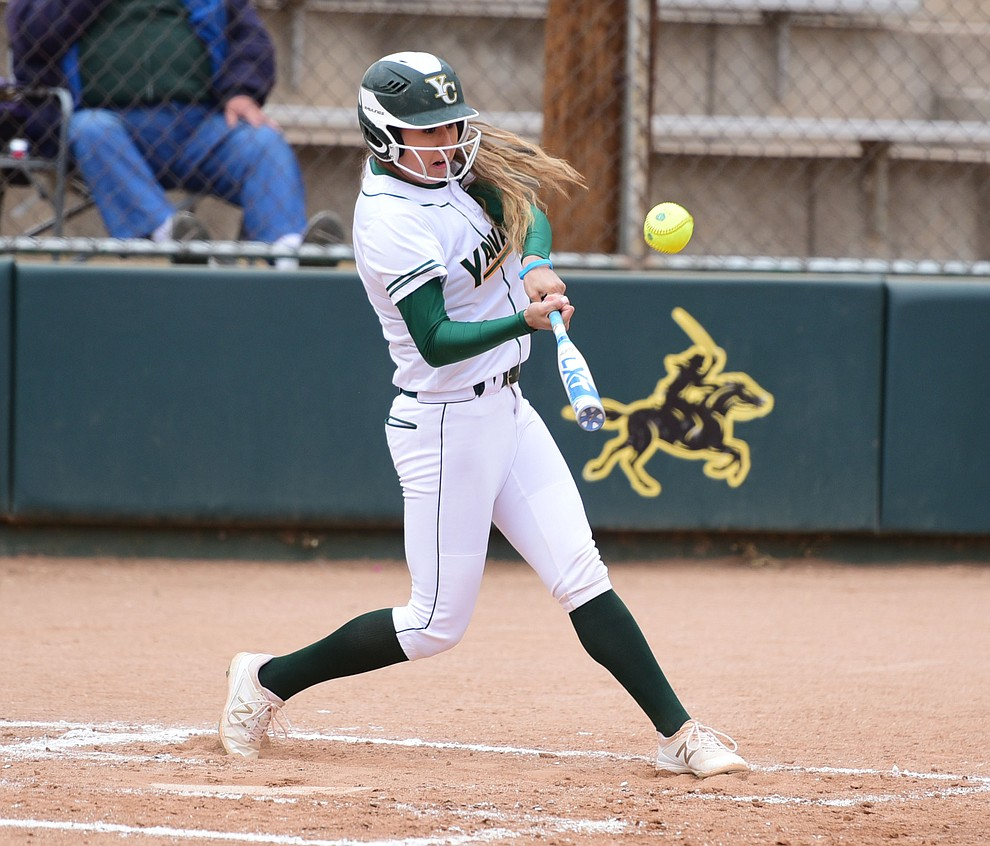 Yavapai College's Savannah Ramirez makes contact as the Lady Roughrider take on the Glendale Community College Lady Gauchos in the first game of doubleheader Friday, March 31 in Prescott. (Les Stukenberg/The Daily Courier)