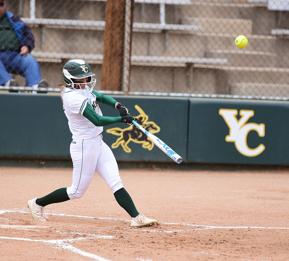 Yavapai College's Shana Ige strokes a double as the Lady Roughrider take on the Glendale Community College Lady Gauchos in the first game of doubleheader Friday, March 31 in Prescott. (Les Stukenberg/The Daily Courier)