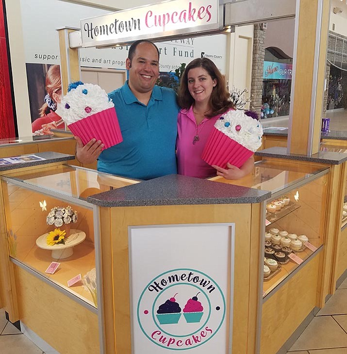 Joshua and Shannon Diaz just opened up a kiosk at the Prescott Gateway Mall for their new business, Hometown Cupcakes.