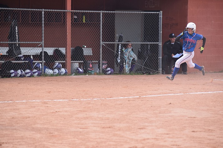 Amber Dodge runs home to complete her inside the park home run on Friday at Sedona Red Rock. Camp Verde won 19-0, their fourth straight win by at least 11 runs. (VVN/James Kelley)