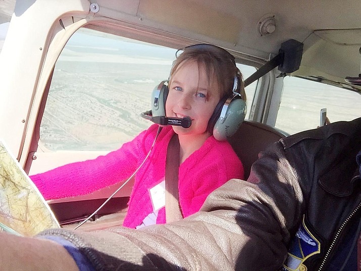 "Camp Verde American Heritage's Ana Dawson was ""really nervous"" when she first took off in a Cessna airplane through the Wright Flight program. ""But once I was in the air, it was fun,"" she said. (Courtesy photo)"