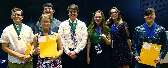 Members of the Chino Valley High Honors Academy World History and U.S. History group that competed April 1 in state competition at Arizona State University, include, from left, Jeff Shumate, Kaelyn Darst, Wyatt Dodds, Chase Call, Hannah Finley, Taylor Knippenburg and Amanda Ward.
