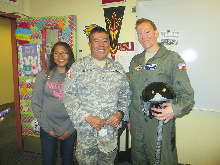 Hopi High student Michella Kagenvaema and Sgt. Joe DeLeon hang out with Sgt. Major Marella Big Mountain from Embry Riddle University. Stan Bindell/NHO