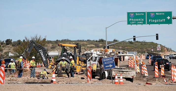 Road improvements on SR 260 from I-17 to Thousand Trails Road are expected to take about 18 months to complete, according to the Arizona Department of Transportation website. (Photos by Bill Helm)