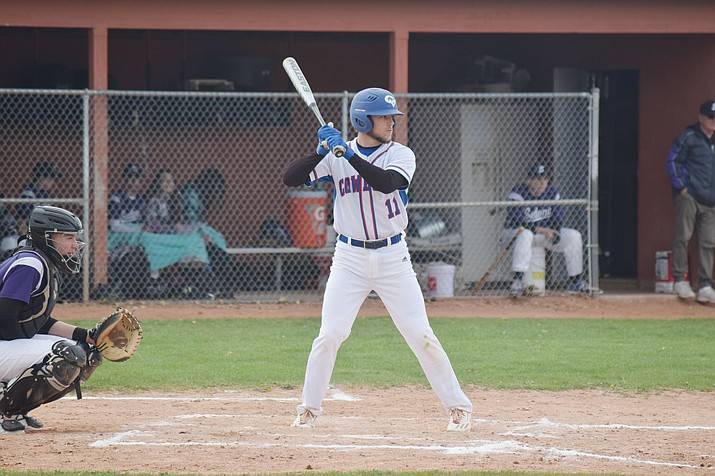 Camp Verde senior Ryan Cain bats against Sedona Red Rock. Cain is hitting .417 with an on base percentage of .514, 22 RBIs through 21 games for the No. 6 Cowboys (VVN/James Kelley)