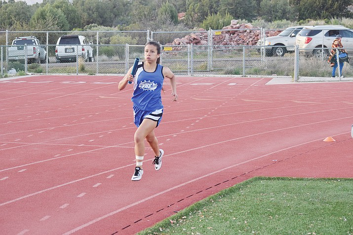 Camp Verde sophomore Eliana Paniagua runs in the 4x400 meter relay on Saturday at the Red Rock Invitational. Paniagua bested her personal record by 14 seconds in the 1600 meters earlier in the day at the meet. (VVN/James Kelley)