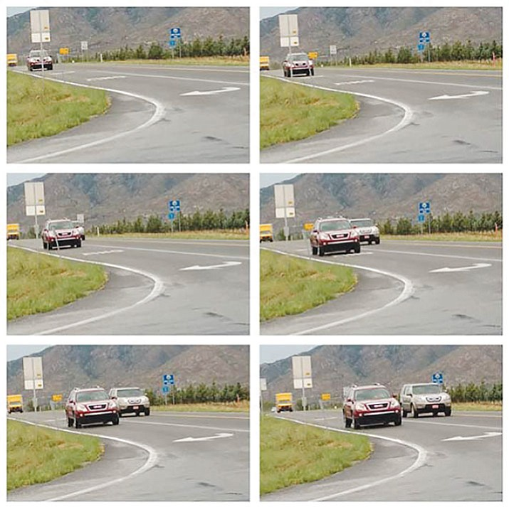 This group of photographs illustrates vision obstruction at Williamson Valley and Outer Loop roads caused by vehicles in the right-turn lane.