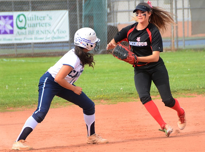 Mingus Union sophomore Delaney Hartnett looks to tag out a Cactus runner on Friday afternoon at home. Although they lost 11-1, head coach John Brown said he was impressed with Lady Marauders for much of the game. (VVN/Vyto Starinskas)