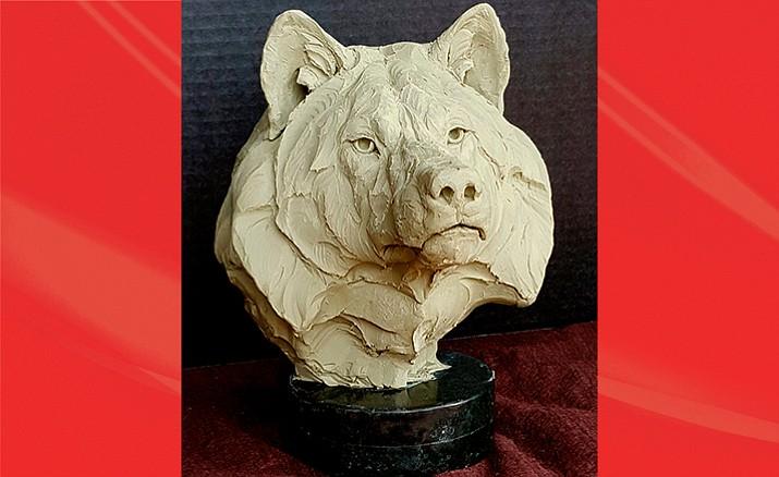 """Pre-cast """"Lobo"""" sculpture by Ken Rowe"""