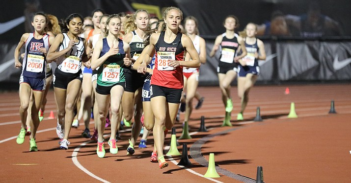 Rio Rico senior Allie Schadler shaved  nearly 4 seconds off Dani Jones (Desert Vista, 2015) former state record for 3200 meters with a 10:05.70 clocking in the 3200-meter run. (Photo courtesy of Ben Crawford, az.milesplit.com.)