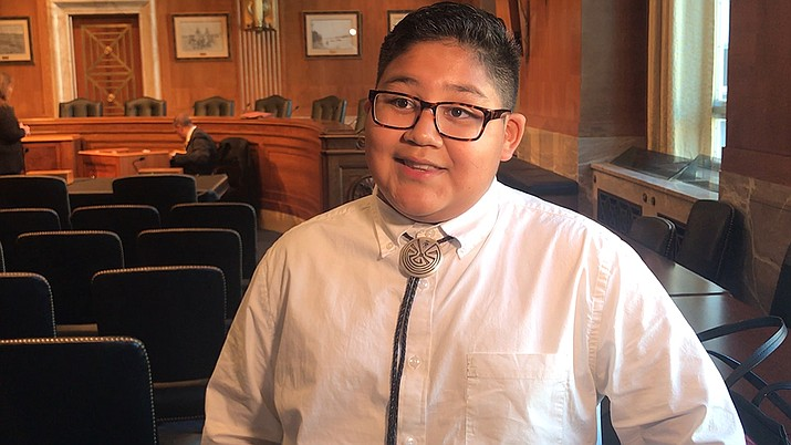 Alton Villegas, 11, a member of the Salt River Pima-Maricopa Indian Community, which is plagued by diabetes, charmed a Senate committee with his story at a hearing on saving tribal diabetes funding. Photo/Marisela Ramirez, Cronkite News