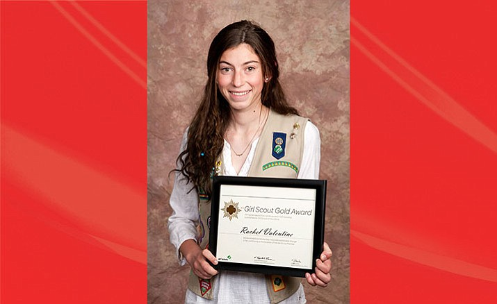 Clarkdale teen Rachel Valentine holds her Gold Award from the Girl Scouts–Arizona Cactus-Pine Council. (Courtesy Photo)