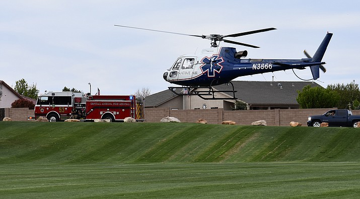 A Native Air medical helicopter takes off from Viewpoint Park in Prescott Valley on April 7, transporting a man experiencing a medical emergency.