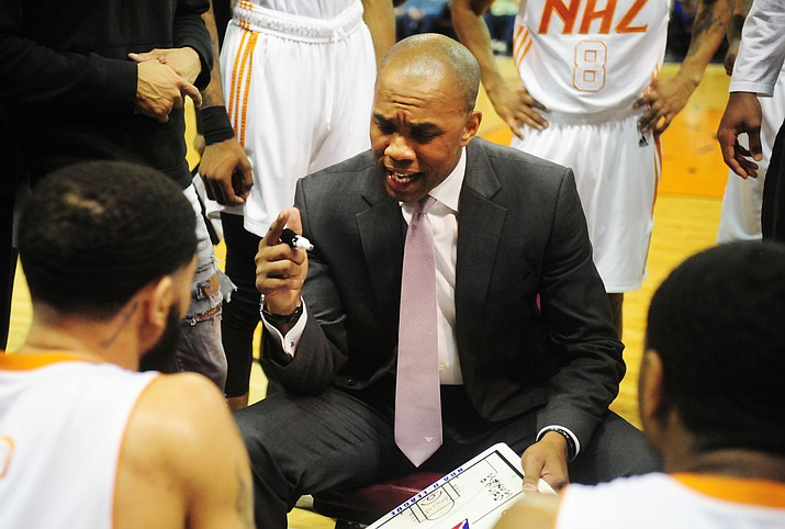 Northern Arizona head coach Tyrone Ellis talks to his team during a timeout as the Suns take on the Santa Cruz Warriors on Dec. 14 at the Prescott Valley Event Center. The Suns finished 22-28 in their inaugural NBA D-League season in Prescott Valley, missing the playoffs. (Les Stukenberg/Courier, File)