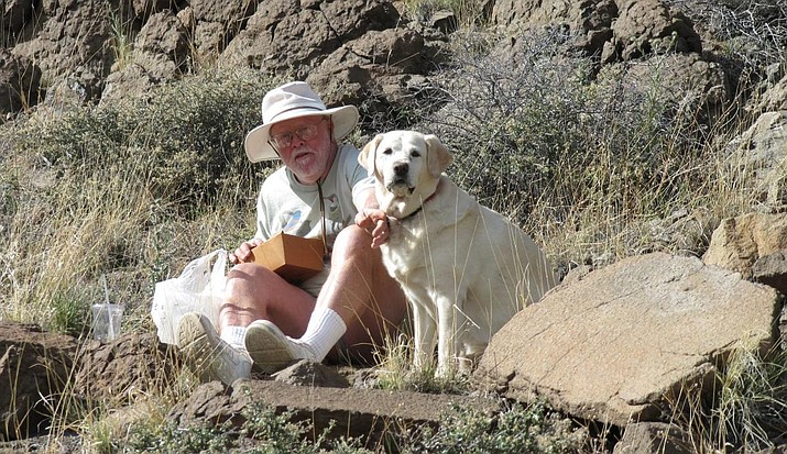 """Author Jon L. Hawker, and his companion Kelly, take to the field to conduct research for Hawker's """"Agave and Yuccas and Their Kin: Seven Genera of the Southwest."""" (Photo courtesy of Jon L. Hawker)"""