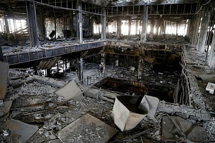 The bombed-out library in Mosul, Iraq. ERAU students have organized a book drive to help rebuild the library and will collect books, as well as money to help with shipping costs, through the end of April.