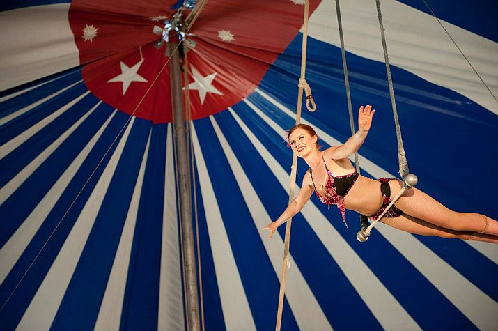 Miss Simone and her single trapeze will be one of many performers at the April 20 Culpepper & Merriweather Circus performance at Beaver Creek School. (Photo courtesy of Culpepper & Merriweather Circus)