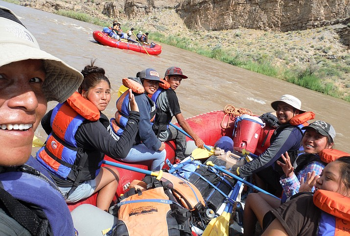 Students from a past Native Teen Guide-in-Trainig Program float the San Juan as they learn guiding skills and about their cultural surroundings while on the river. Submitted photo