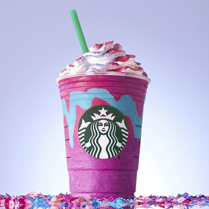 Starbucks' Unicorn Frappuccin starts out purple with a sweet and fruity taste. It changes to pink and tart after it's stirred to mix in a blue drizzle. It's available from April 19 to April 23.