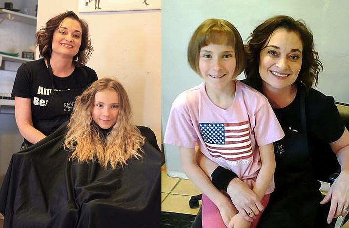 Before and after eight year-old Kathleen Gigous haircut.