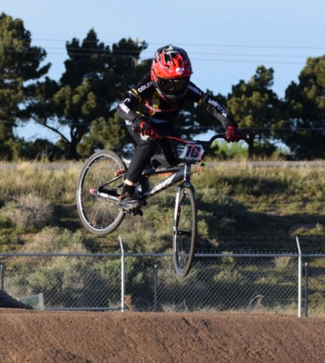 Chase White catches some air during High Desert 66 BMX at the Mohave County Fairgrounds.