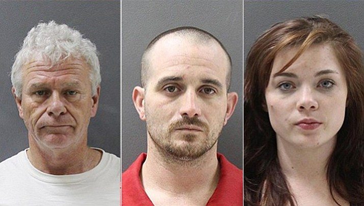 Arrested Monday were: the driver, 29-year-old Matthew Sturges from Oklahoma, center, and two passengers in the vehicle, Savanna Taylor, 19, from Oklahoma, right, and Michael Knesel, 58, from California, left.