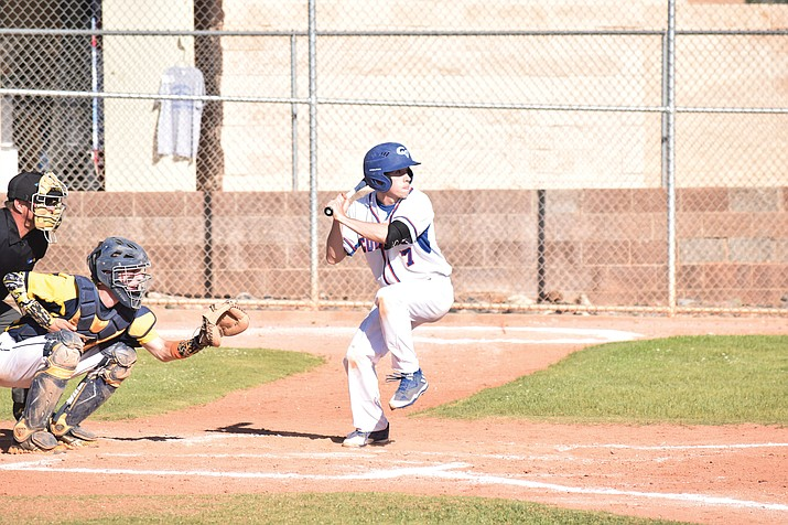 Camp Verde senior John Castillo bats against Glendale Prep on April 13. Castillo was 3-for-4 with two runs and a walk in the Cowboys' 14-1 win over the Griffins. (VVN/James Kelley)