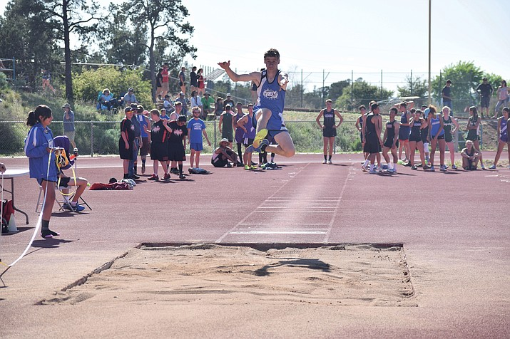 Camp Verde junior Nate Schultz high jumps at the Sedona Invitational on Tuesday at Sedona Red Rock. After finishing fourth in the high jump, he set the school record in the triple jump by a foot and an inch. (VVN/James Kelley)