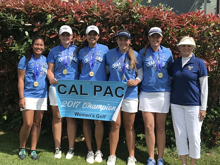 Embry-Riddle Athletics/Courtesy Embry-Riddle's women's golf team won its second straight NAIA West Women's Championship. From left, Nicole Lopes, Jessica Williams, individual champion Lauren Kruszewski, Trae Jones, Elle Carlson and coach Kim Haddow.