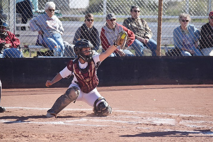 Mingus Union senior captain Morgan Mabery reaches to make a catch against Coconino. Mabery is batting .471 with 26 runs, 22 RBIs, 10 doubles and 2 home runs through 29 games. (VVN/James Kelley)
