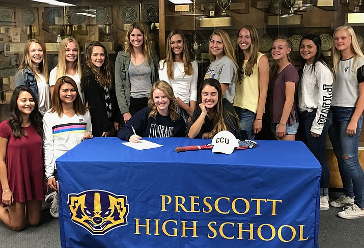 Prescott's Sarah Jane Schott signs her letter of intent to play tennis for Colorado Christian University on Thursday in Prescott. (Prescott Athletic Department/Courtesy)