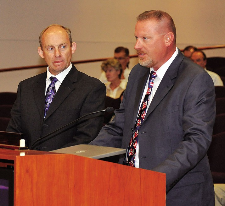 Mohave County Court Administrator Kip Anderson, left, and Presiding Judge Charles Gurtler address the Mohave County Board of Supervisors in this photograph taken in 2012. Gurtler will sit on a case on the Arizona Supreme Court.
