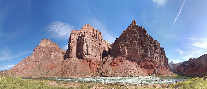 Hance Rapid is located at the confluence of Red Canyon and the Colorado River at river mile 77.