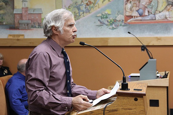 Prescott resident Steve Cook delivers a five-minute presentation addressing many of Prescott City Council's objections to the U.S. Mayors Climate Protection Agreement.