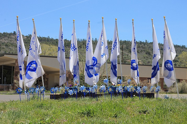 Flags and pinwheels fly and spin in the cool spring breeze at the Williams Health Clinic. The Pinwheel of Hope Field remembers the 87 children who died of child abuse in Arizona last year.