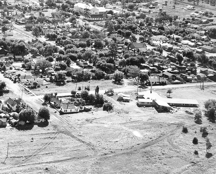 Many roads in Williams were still dirt in the 1950s. The above photo includes the Williams Hospital, the Williams school, and the future location of Safeway in the lower left corner.