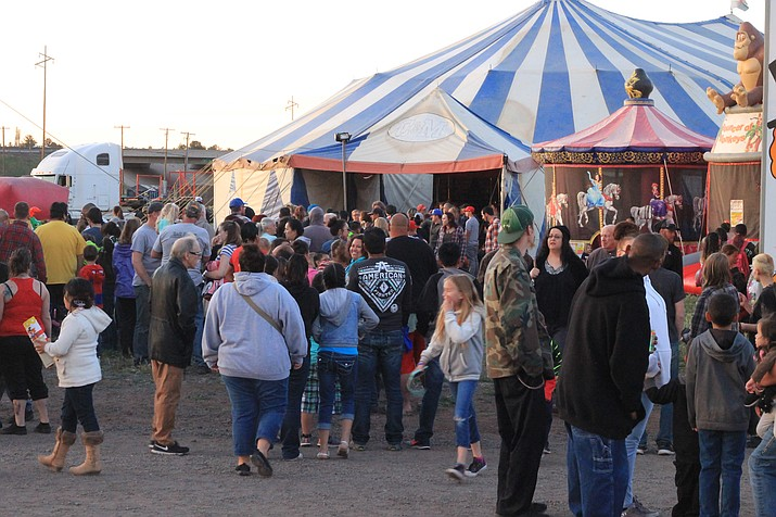 A crowd gathers for the second showing of the circus April 21 in Williams.